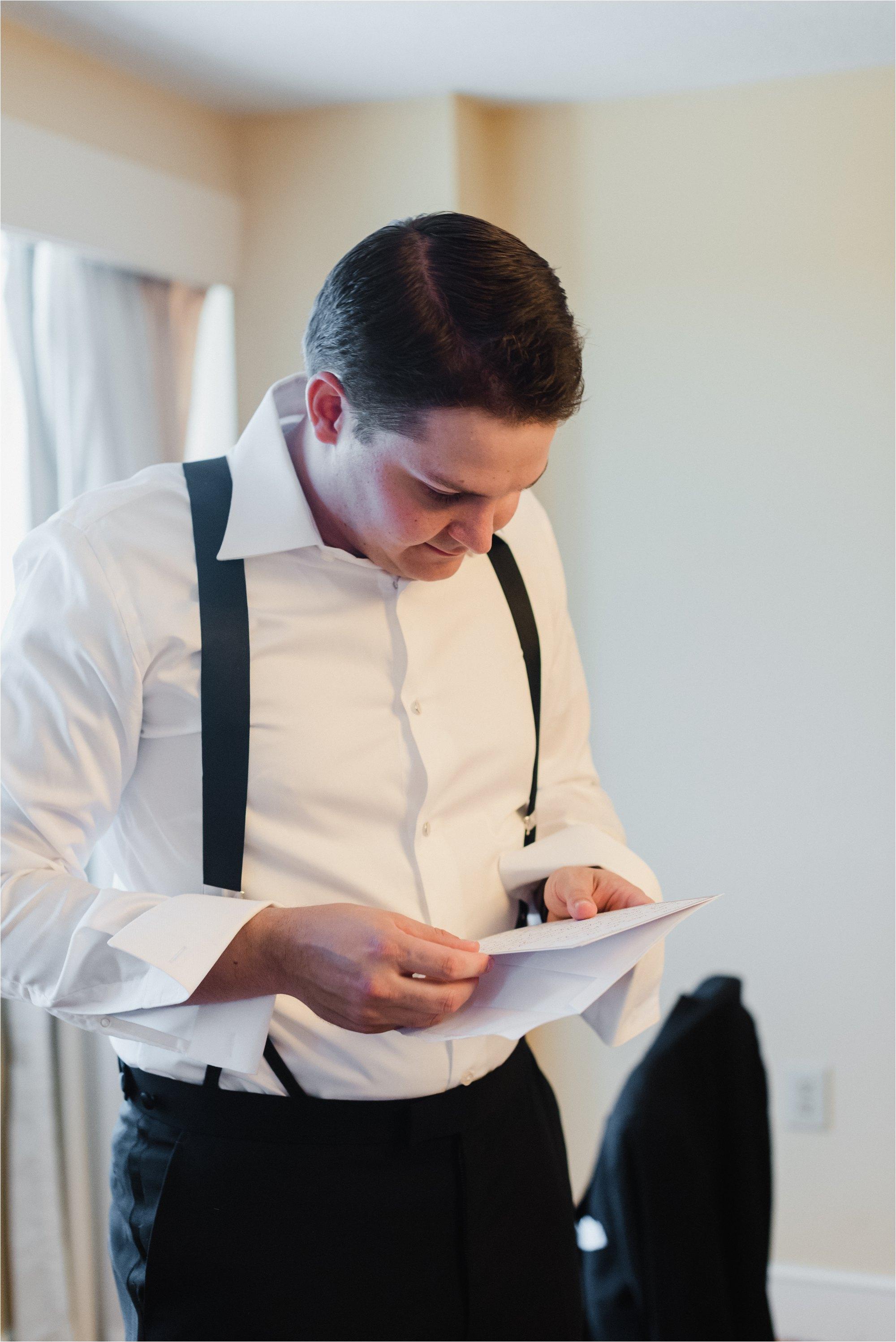 Groom reading bride's letter