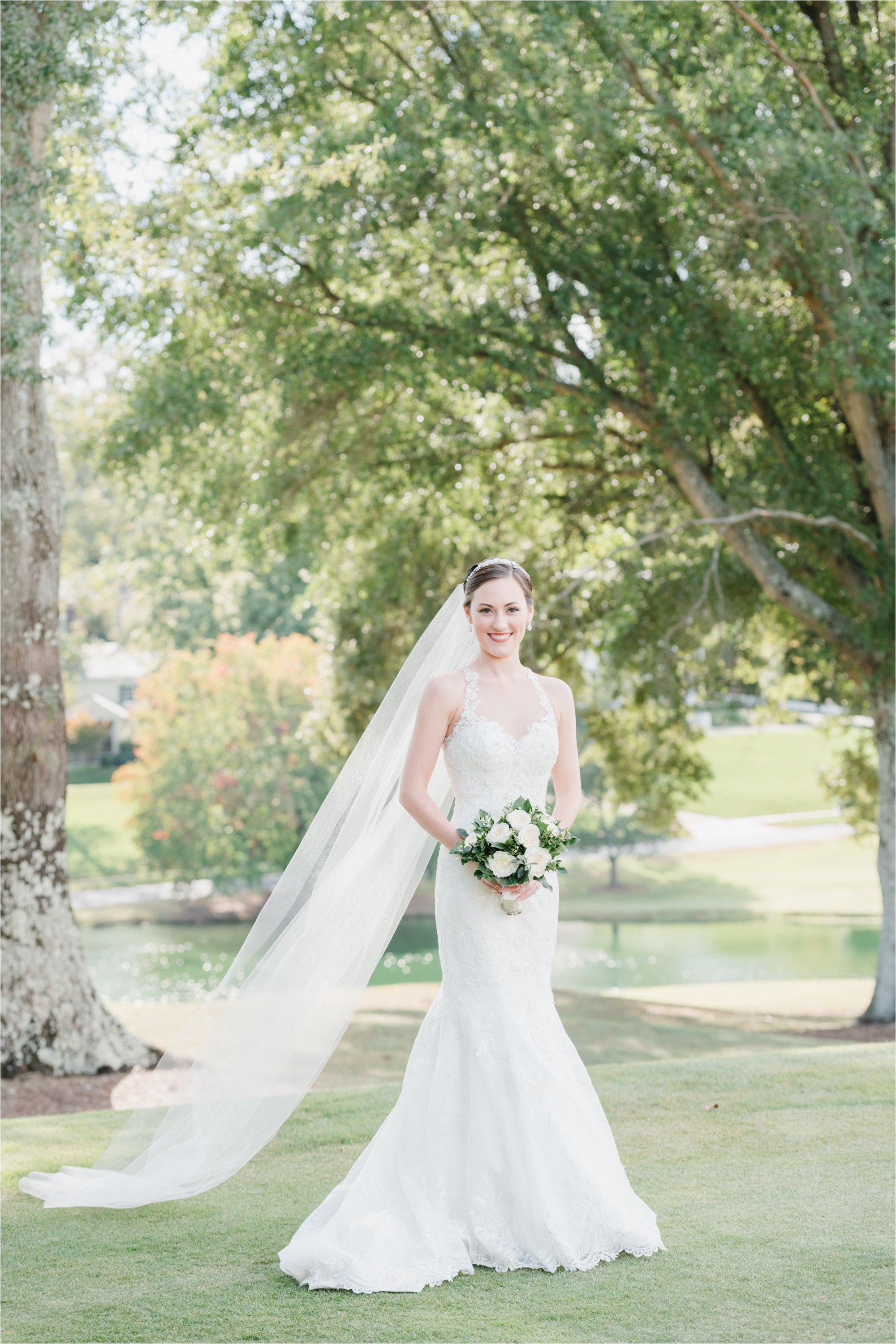Bride with veil at greensboro country club