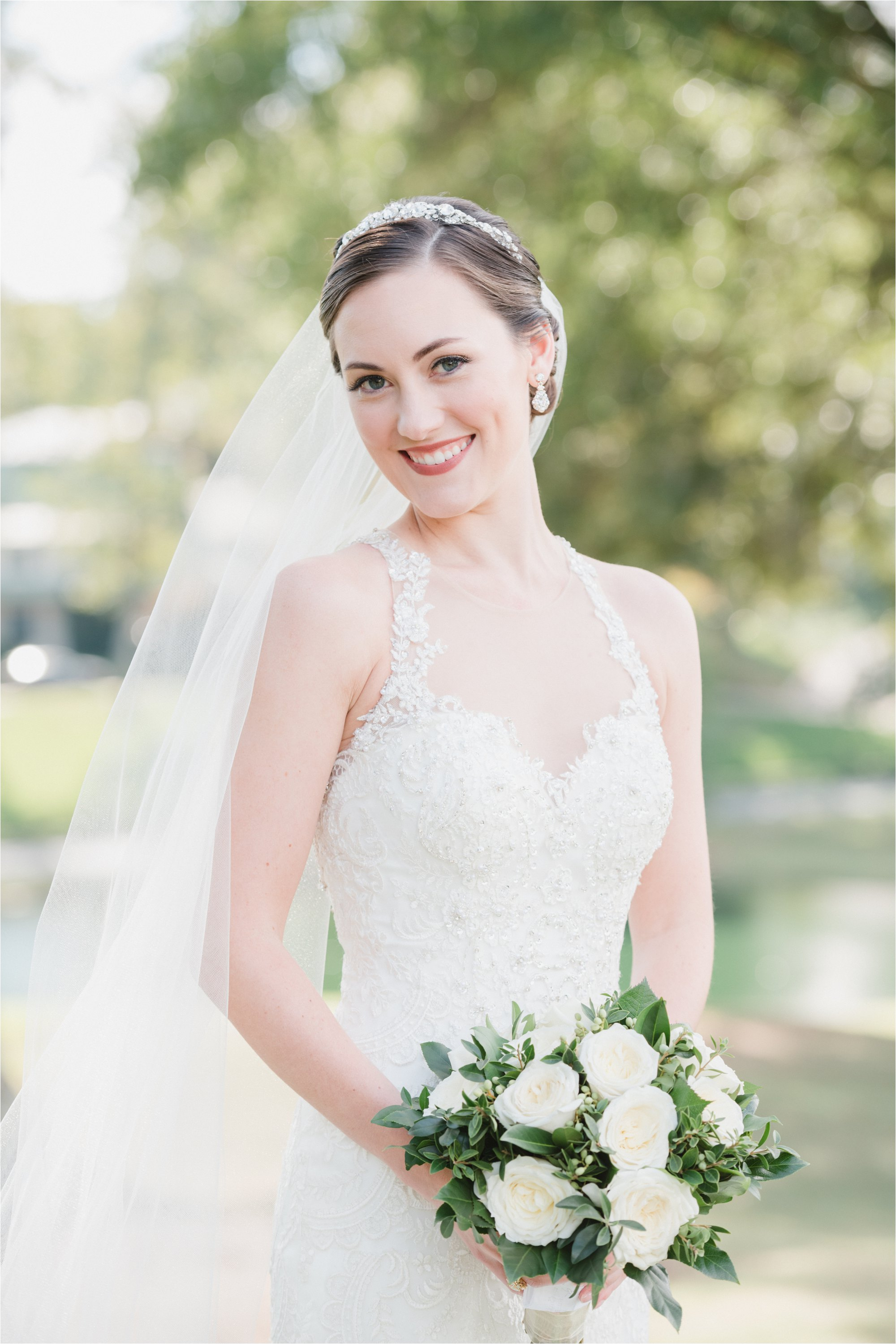 close up of bride at greensboro country club
