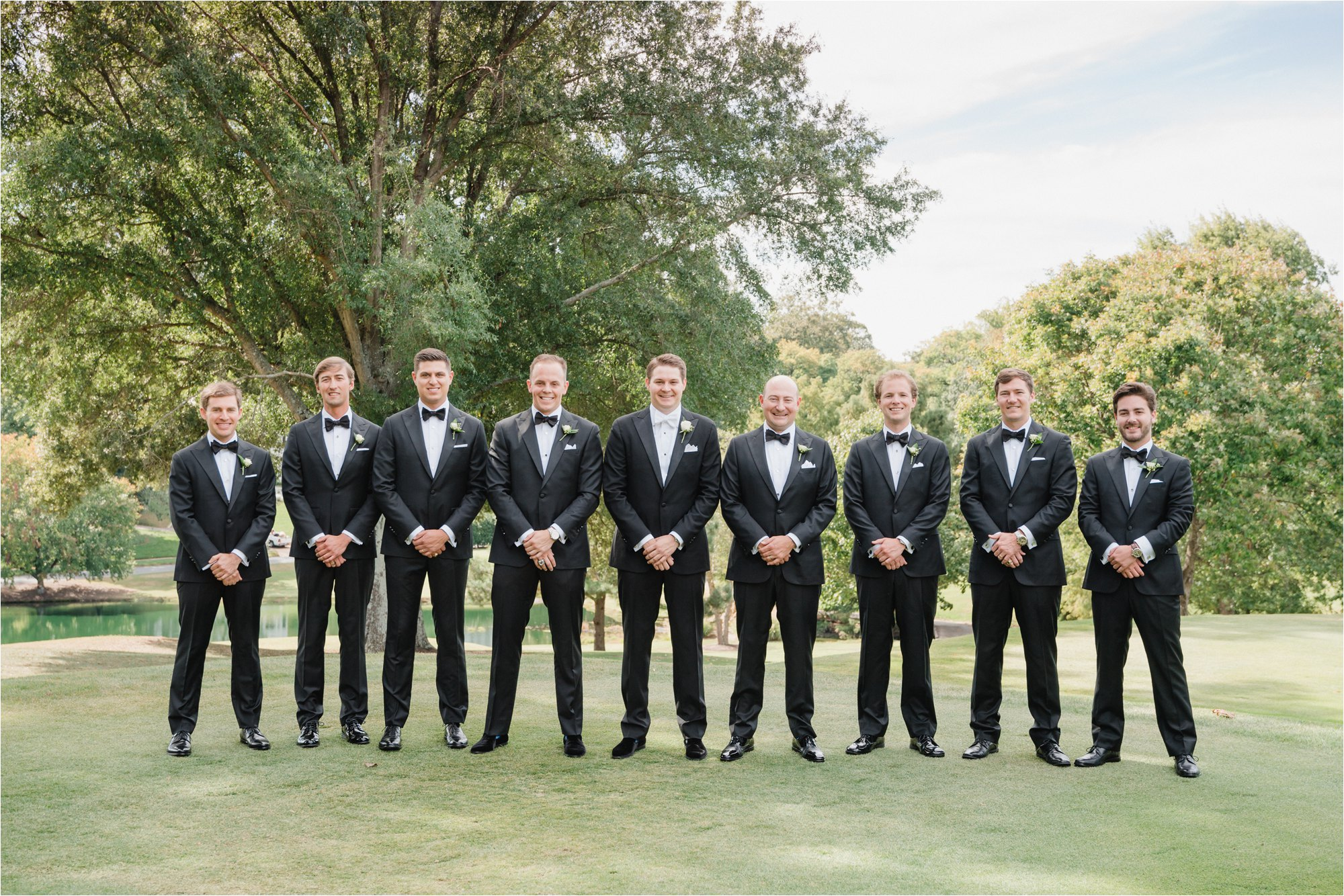 Groomsman lined up at greensboro country club