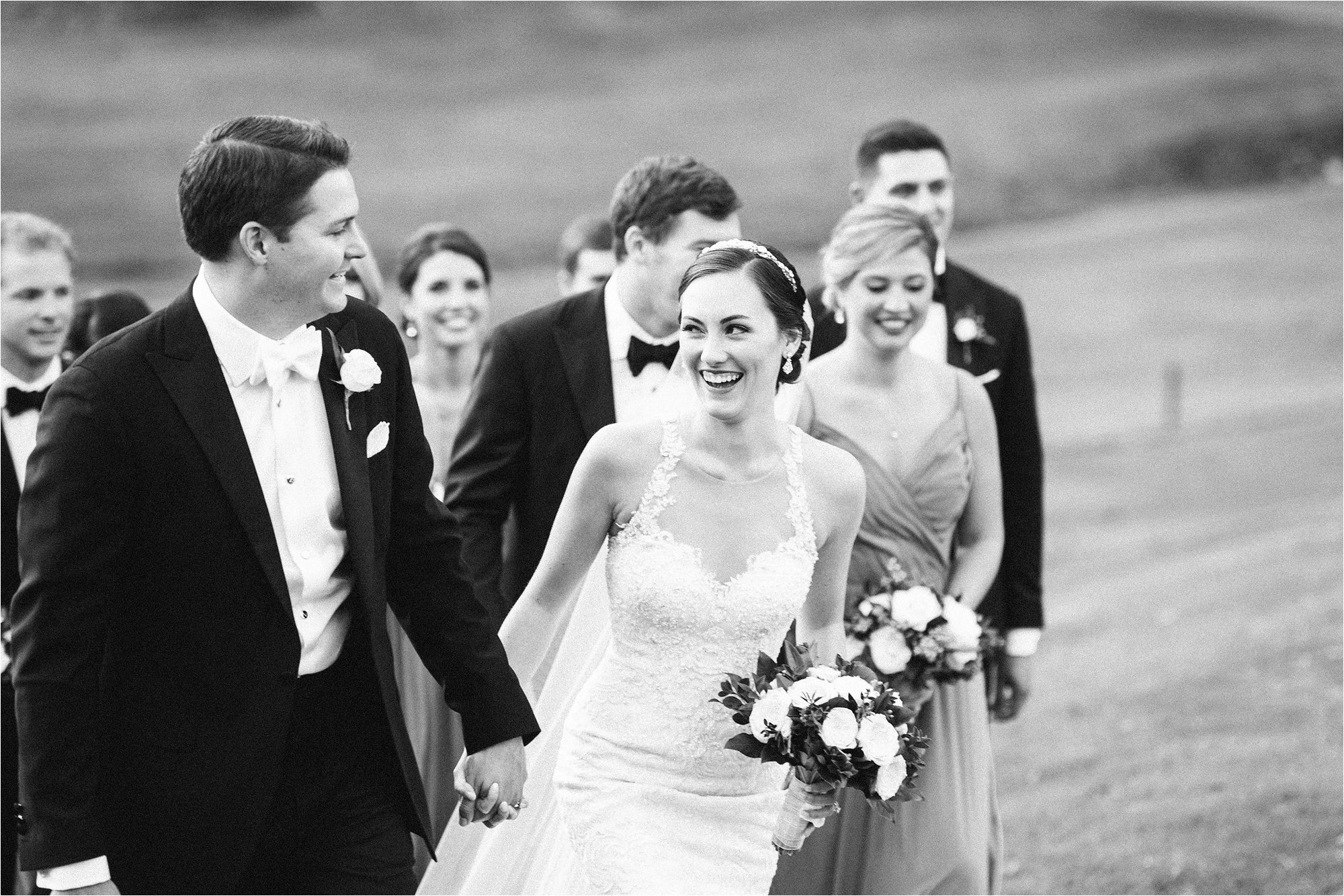 Black and white Bridal party at greensboro country club