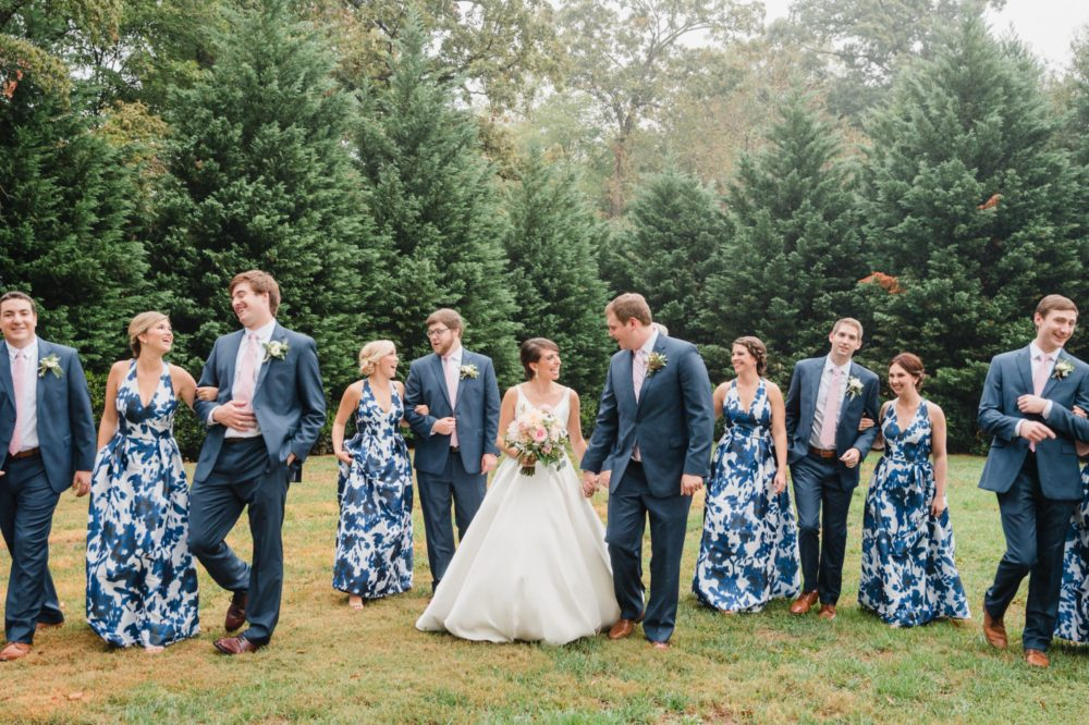 Allison & Kevin's Blue Whitehead Manor Wedding | Rainy day Charlotte wedding pictures