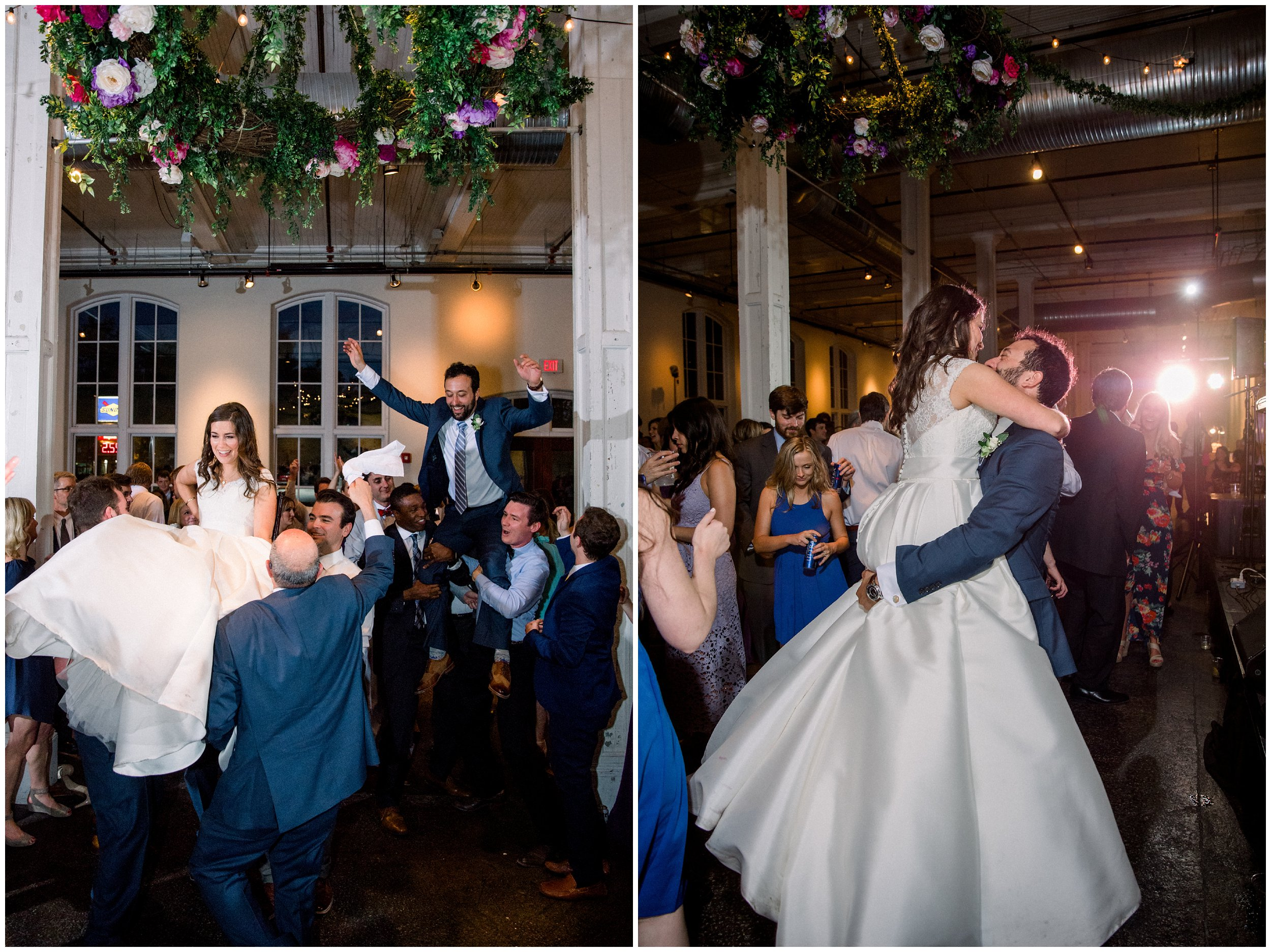 bride and groom dancing and laughing during reception