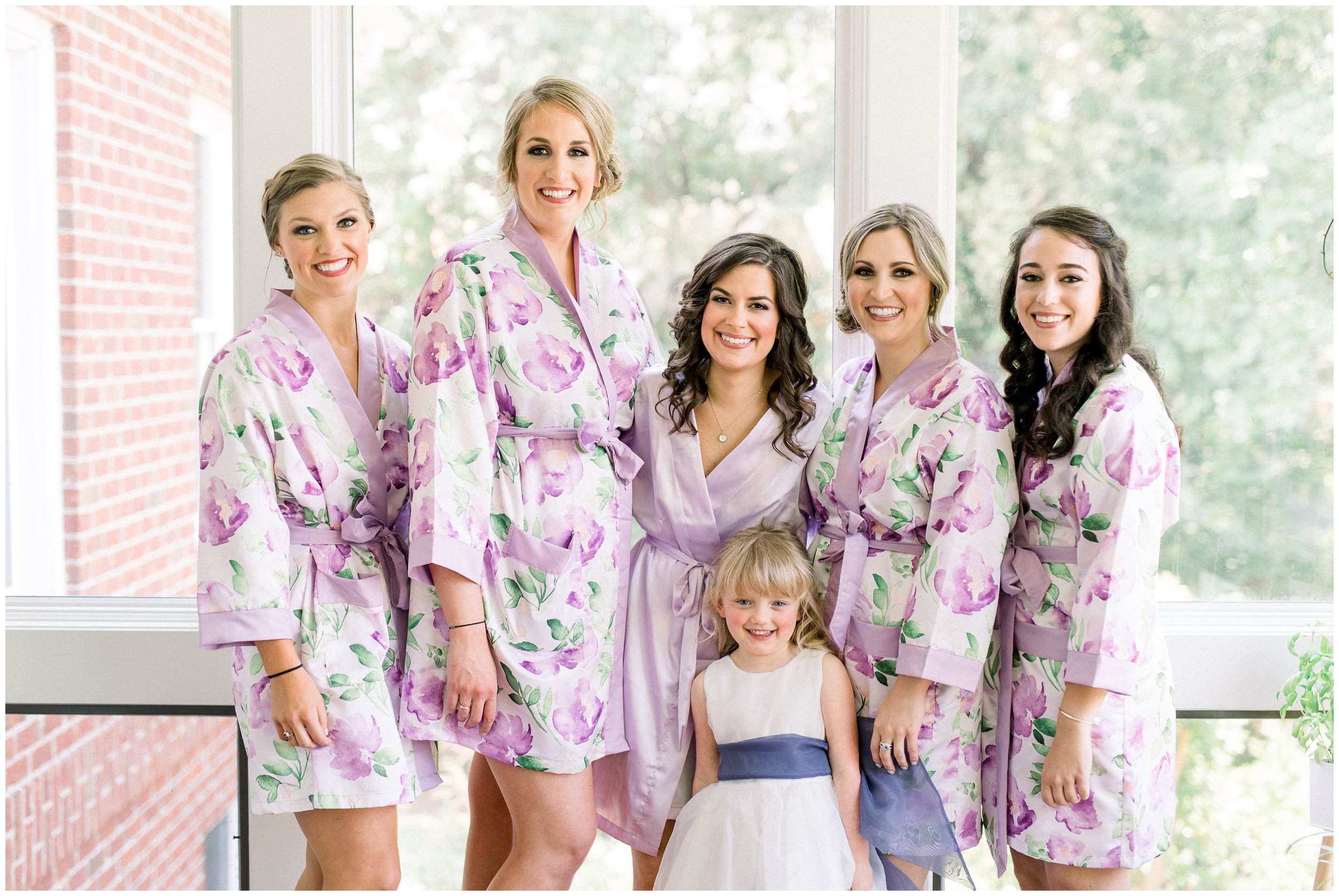 bridal party portraits in matching robes