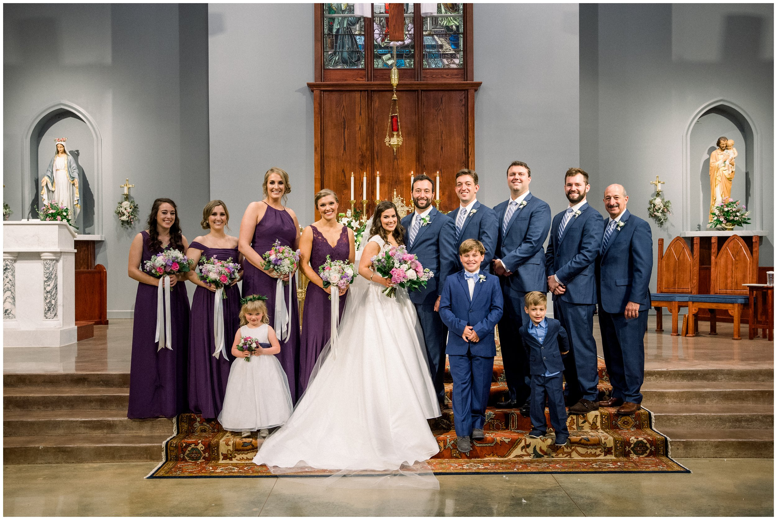 wedding party portrait in columbia church