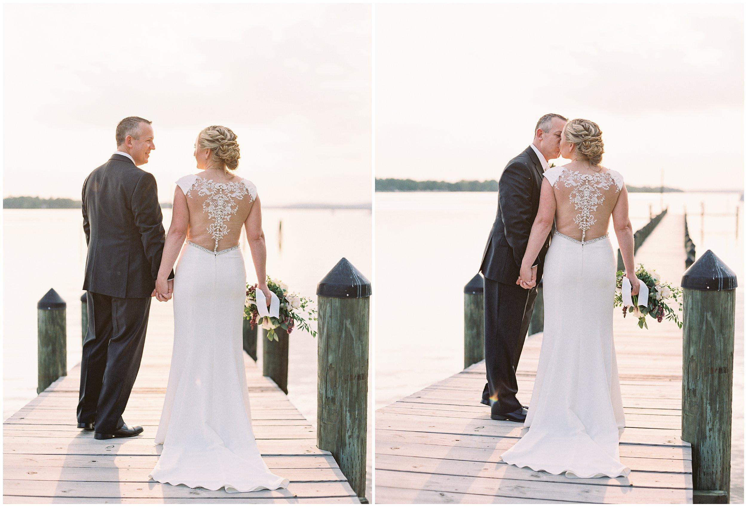 wedding portraits at sunset on maryland dock