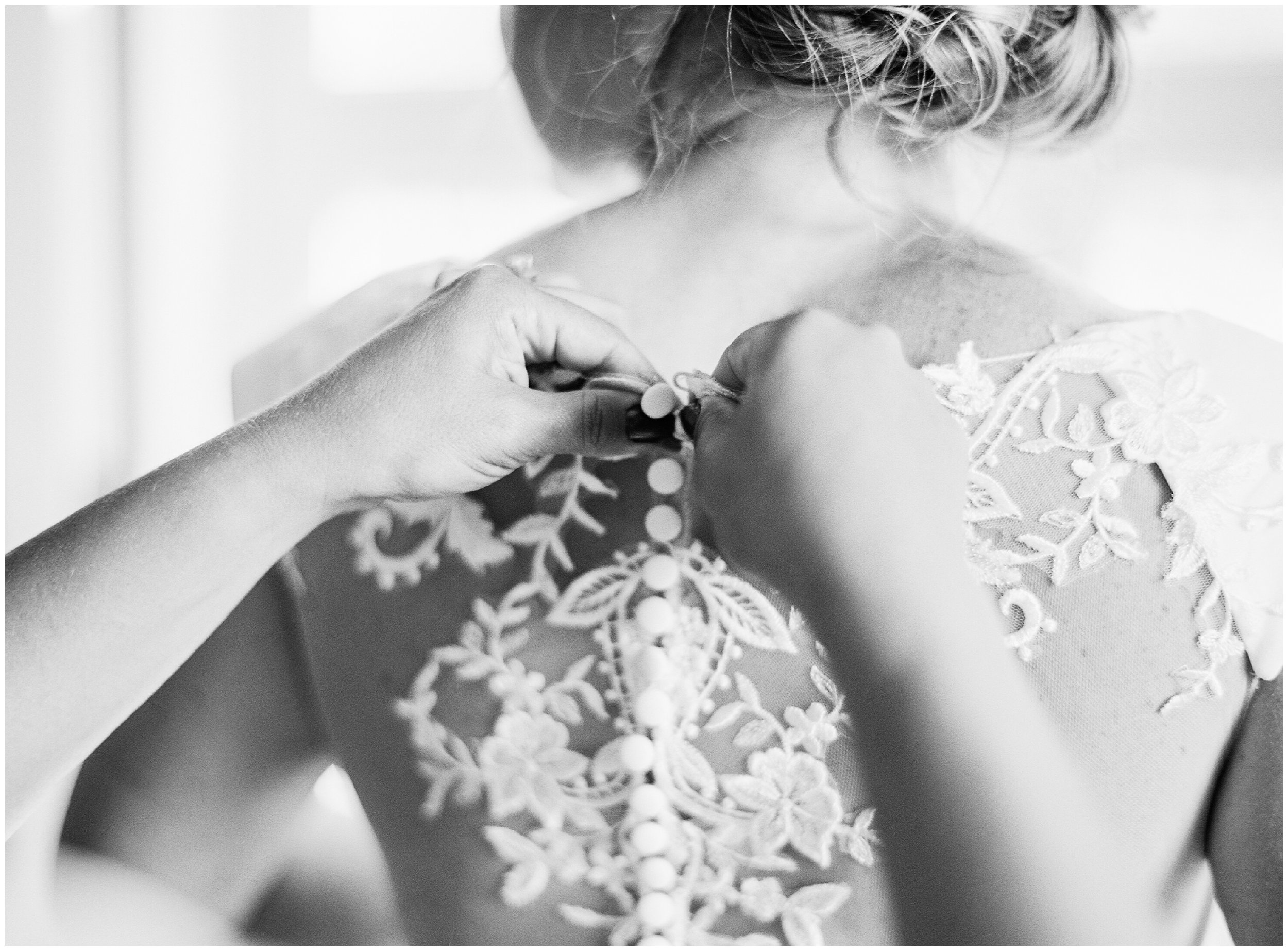 wedding details, bridesmaid helping button dress