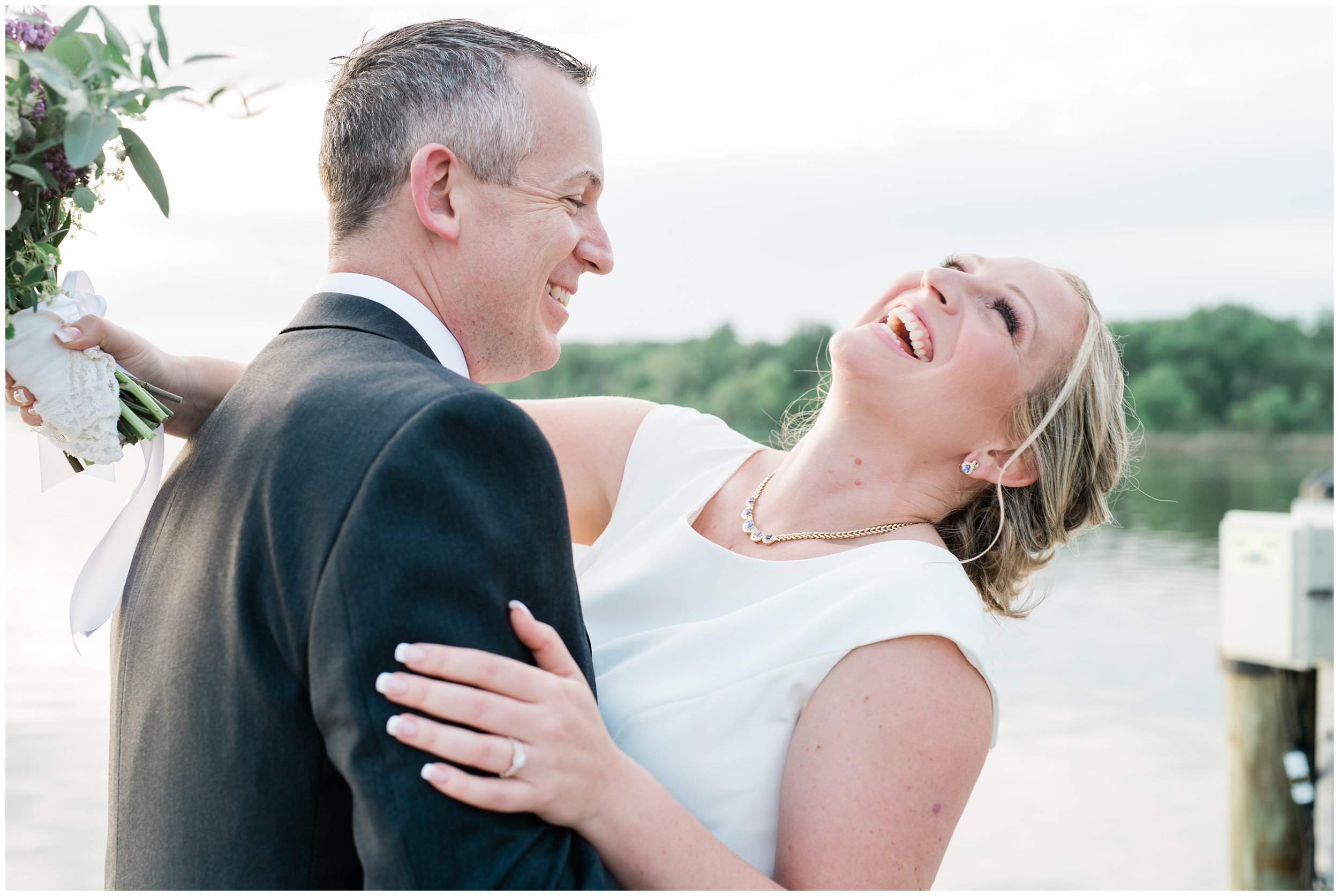 bride laughing during portraits