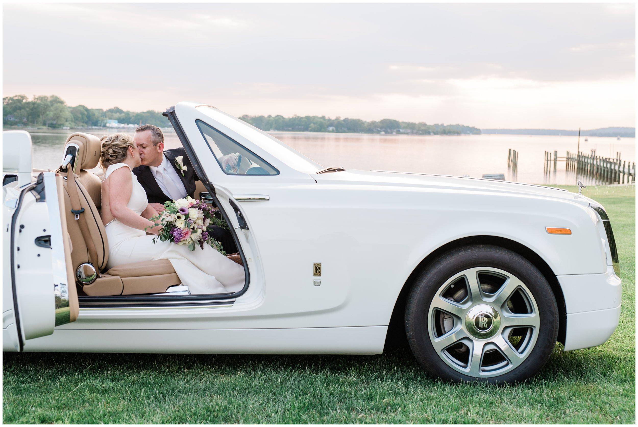 newlyweds in rolls royce