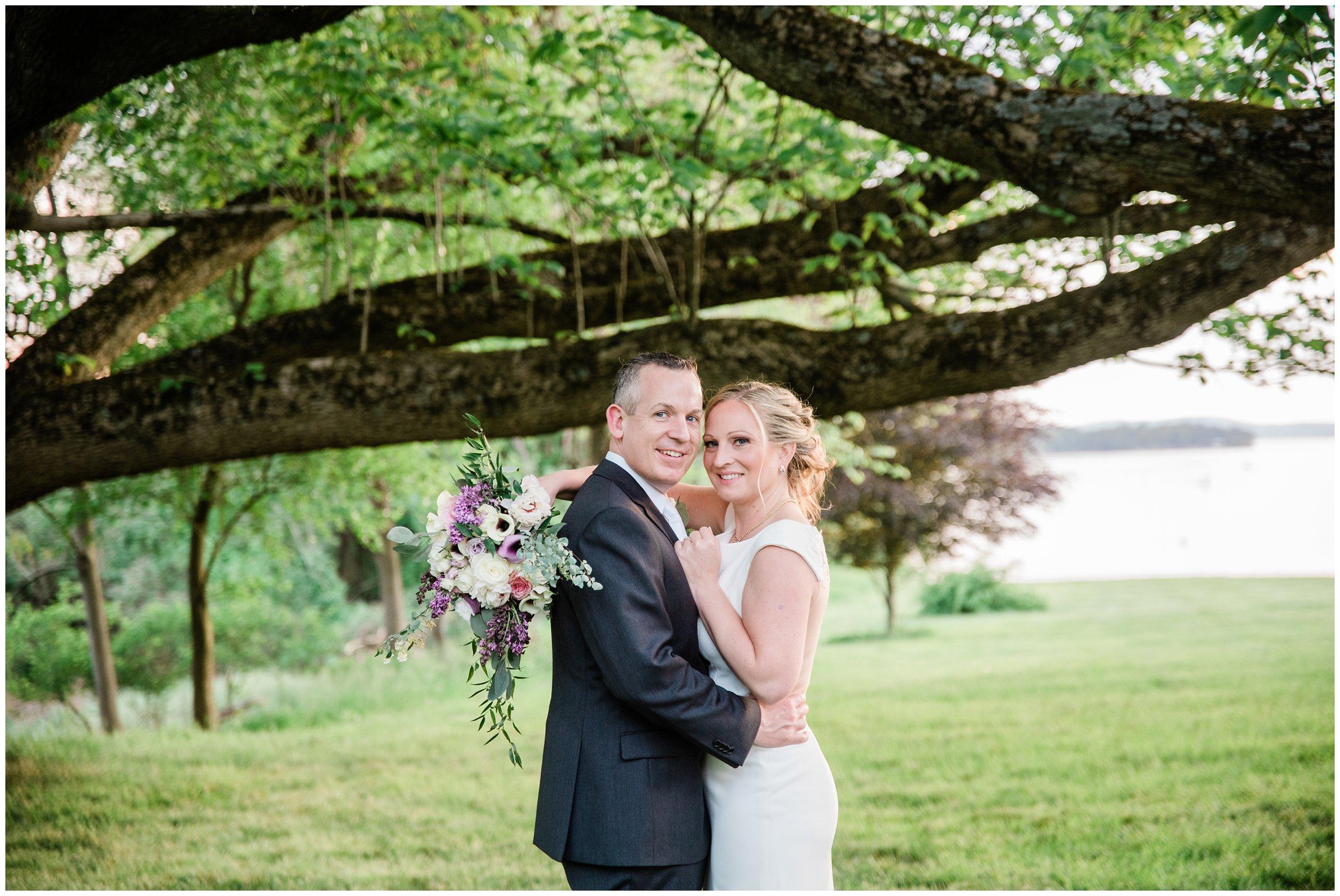 sunset wedding portrait under giant tree