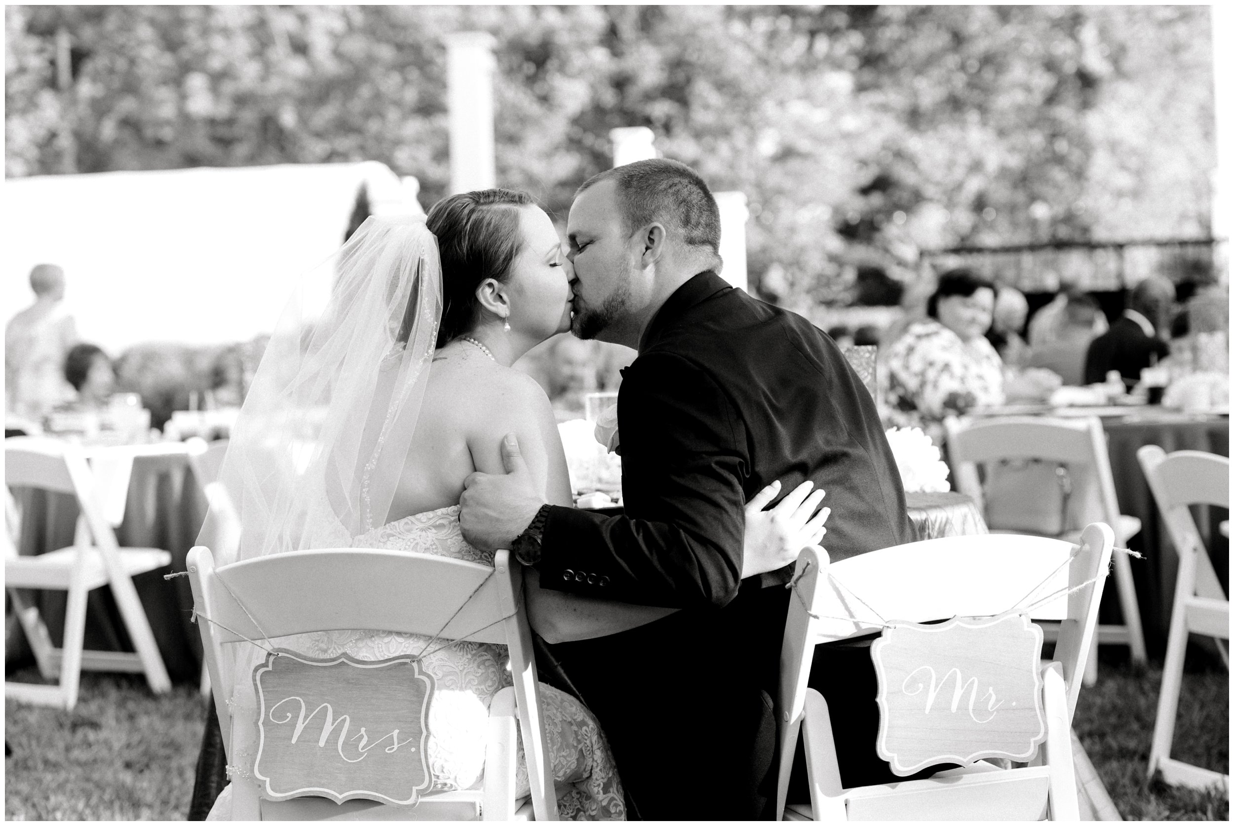 mr and mrs kiss outdoor charlotte wedding