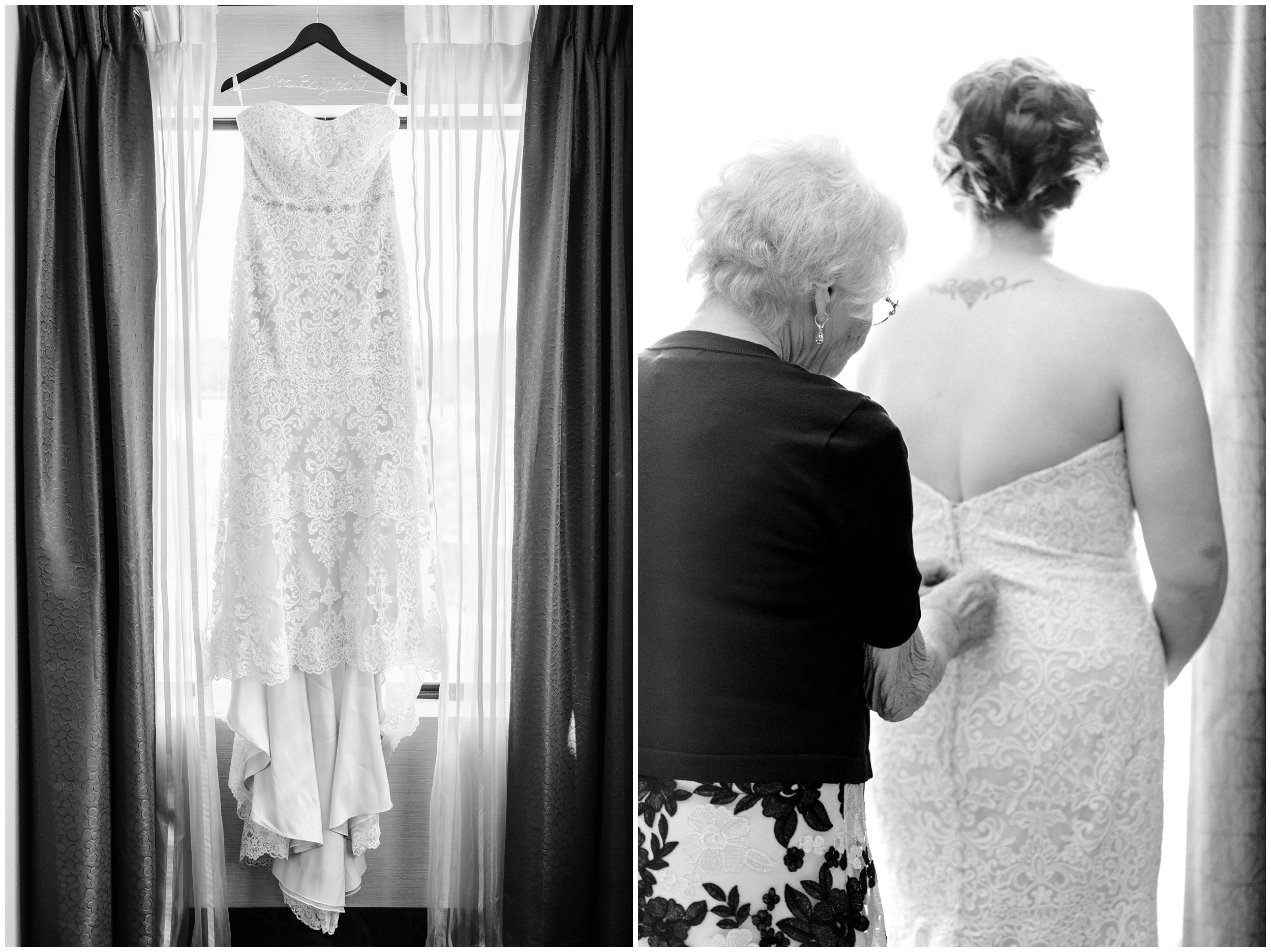 beautiful wedding dress, grandmother buttoning wedding dress