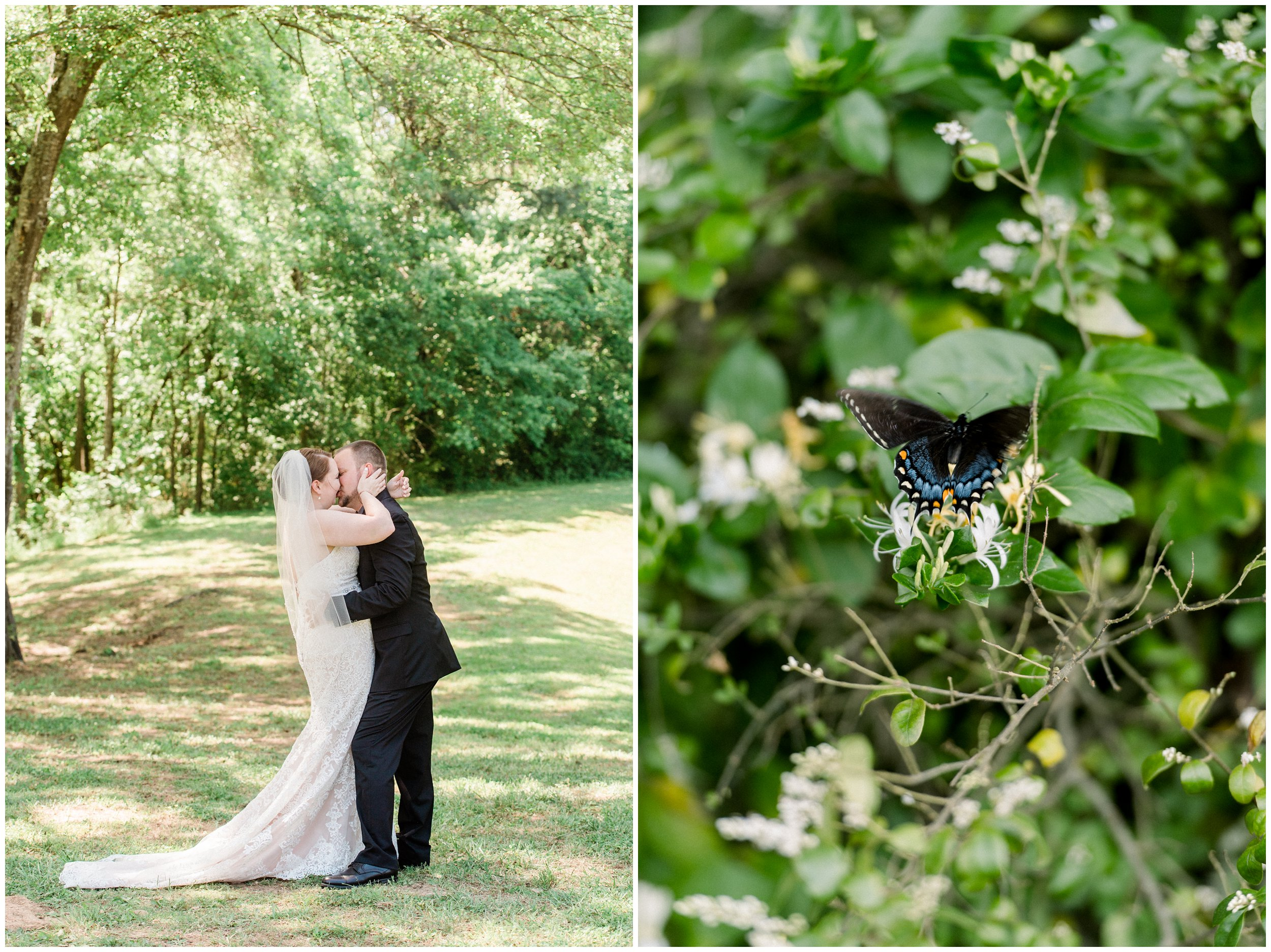 kissing newlyweds outdoor with butterflies