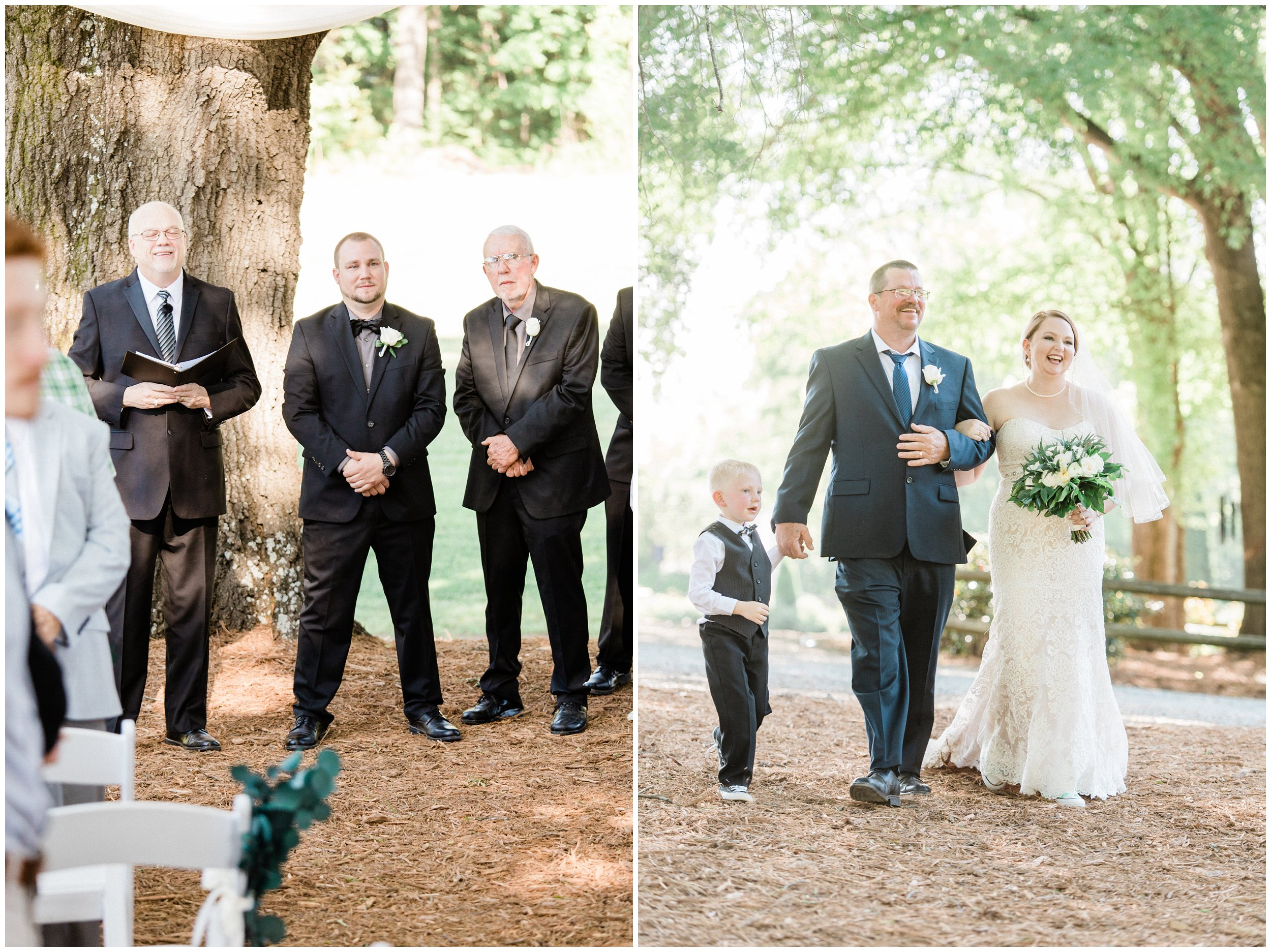 groom waiting for bride as father and son walk her down the aisle