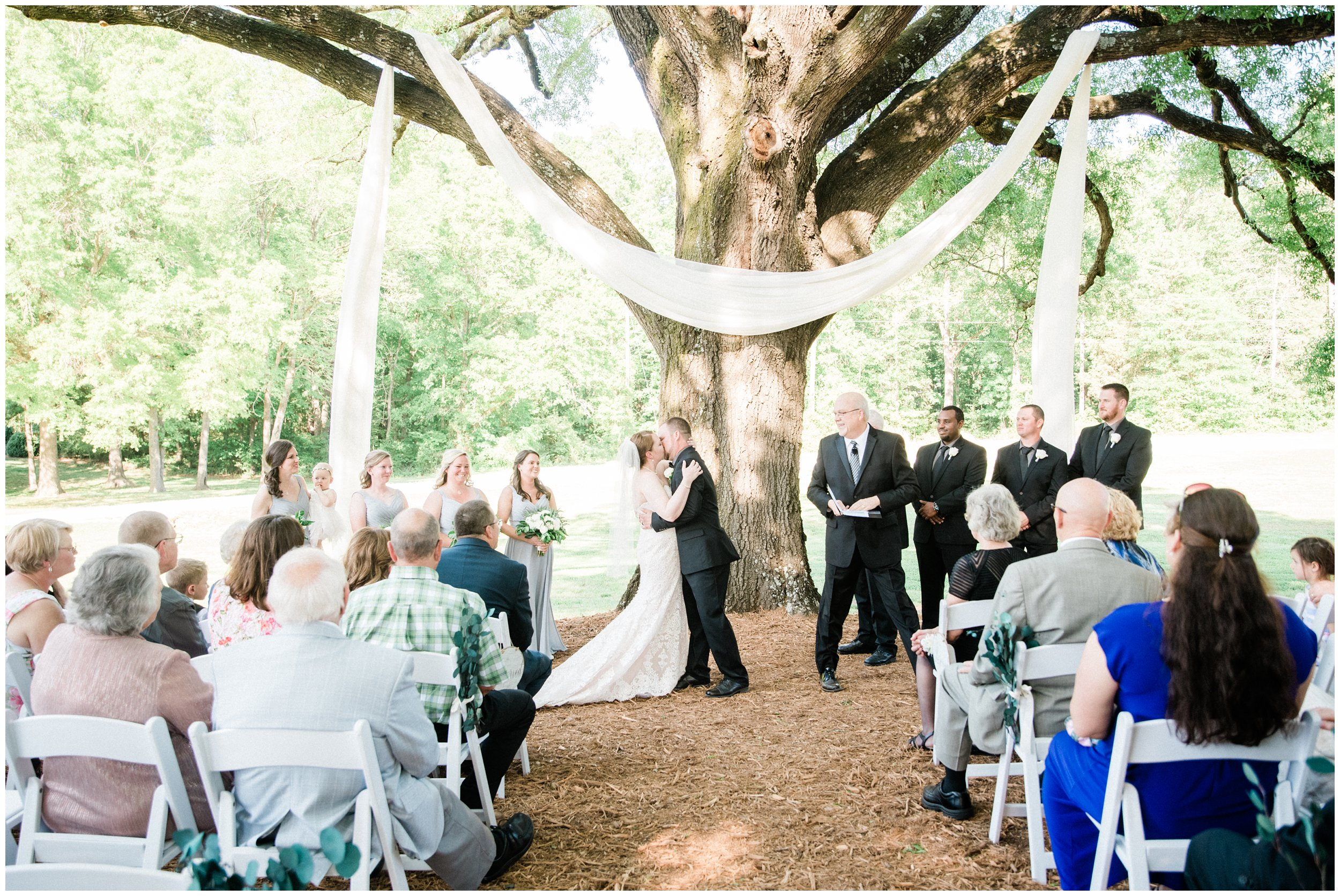 first kiss as husband and wife under giant tree