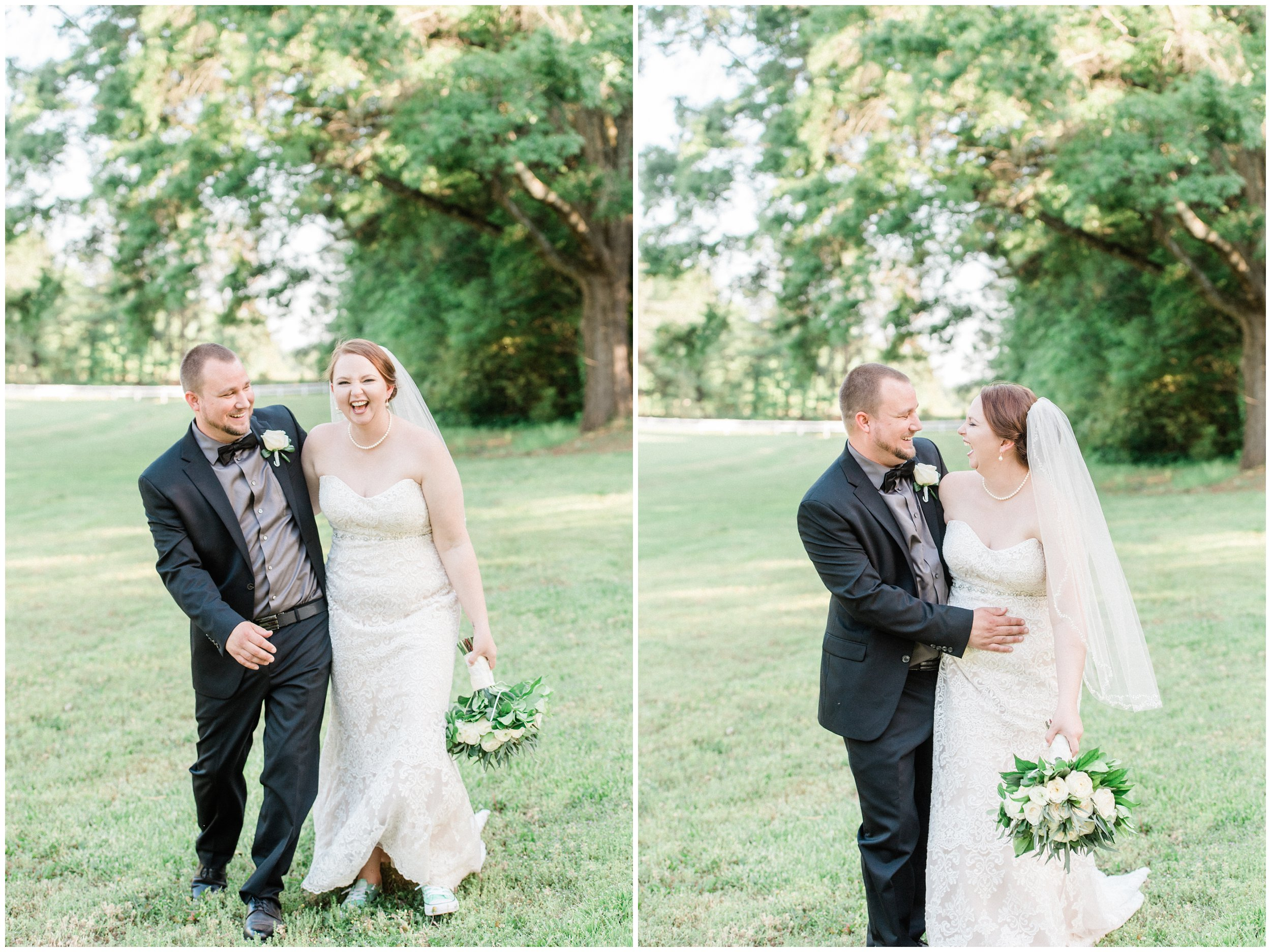newlyweds laughing during wedding portraits