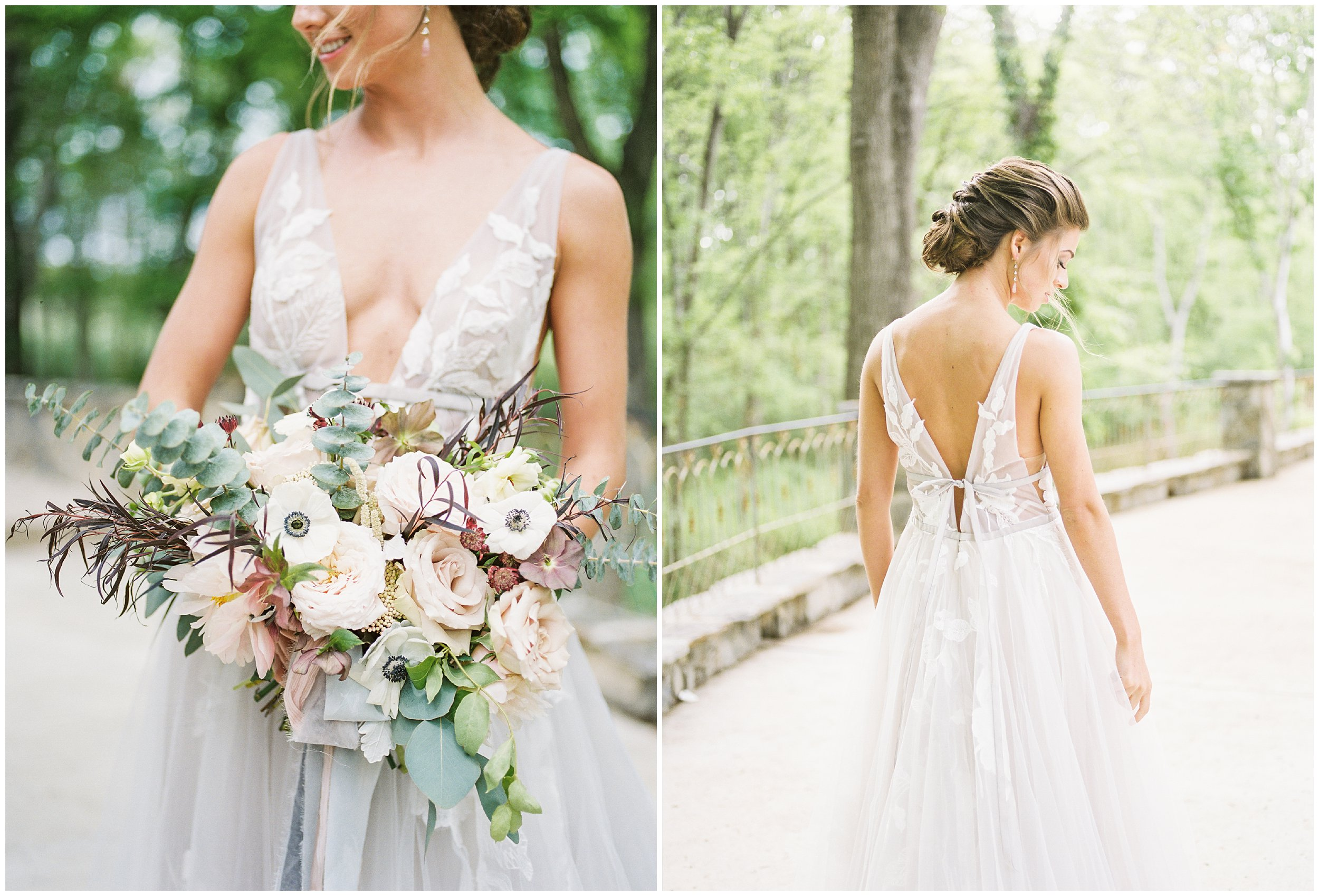 details of bride's bouquet and gorgeous wedding gown