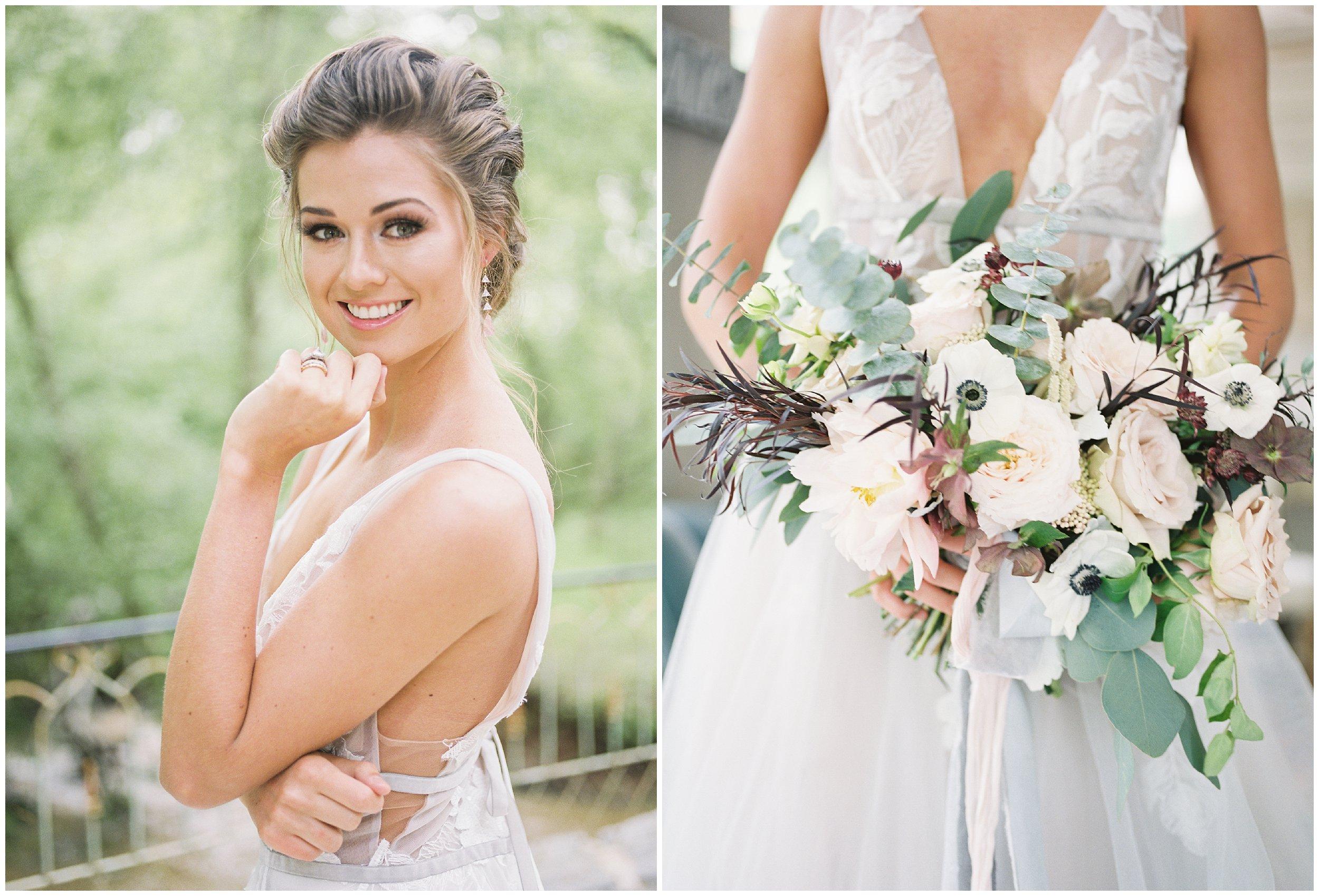 gorgeous bridal portrait and bouquet details