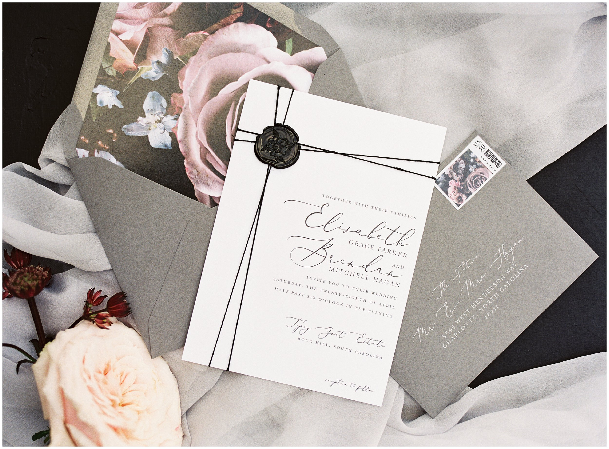 lovely purple and grey wedding stationery