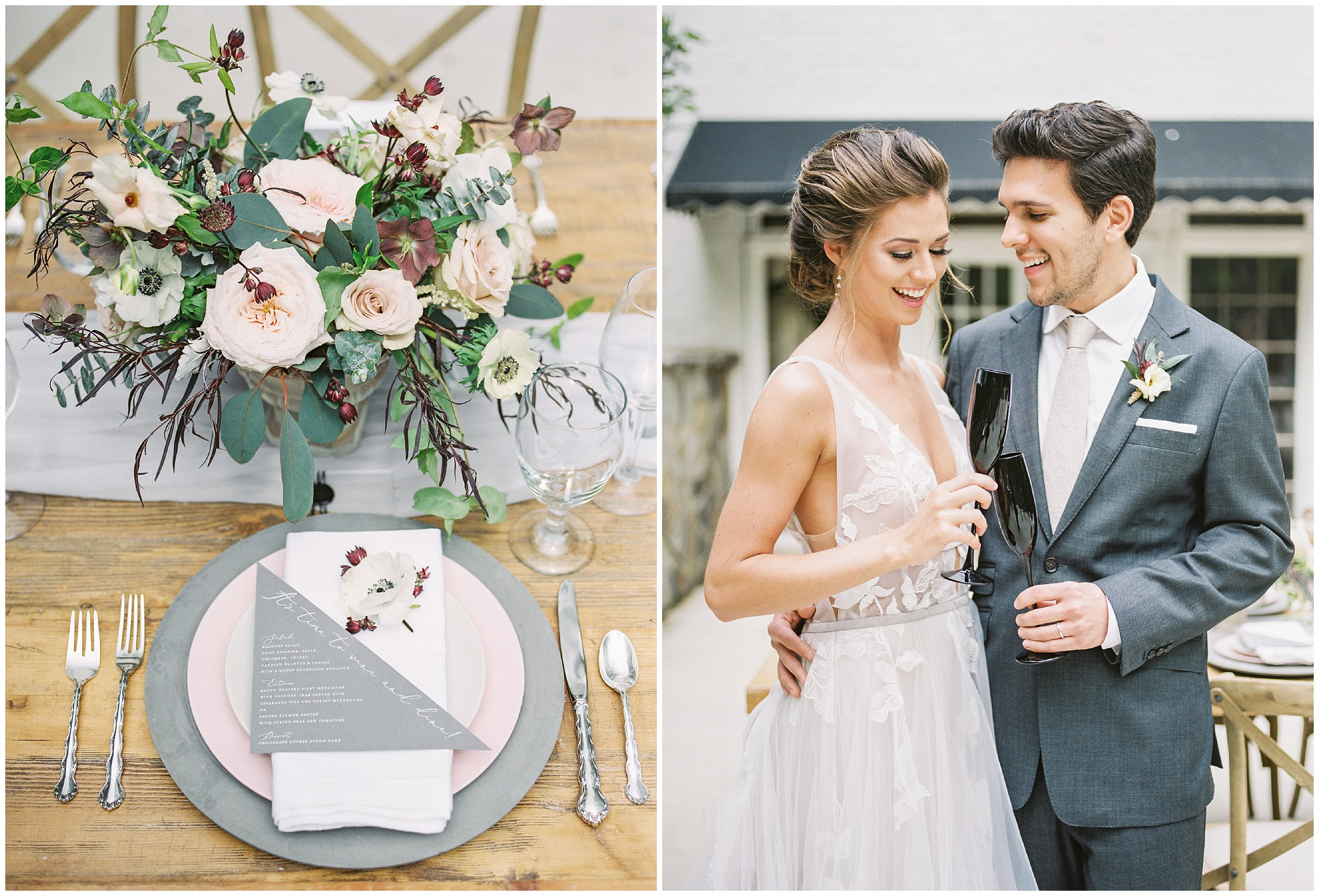 charlotte wedding table details with bride and groom