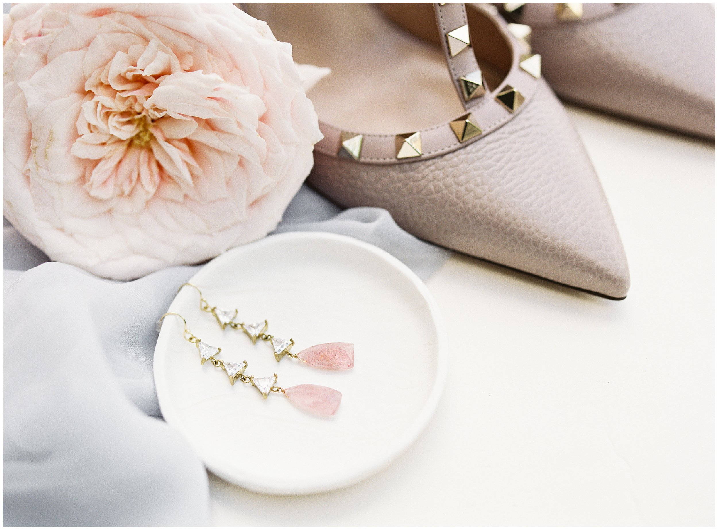 wedding details, valentino shoes and pink crystal earrings
