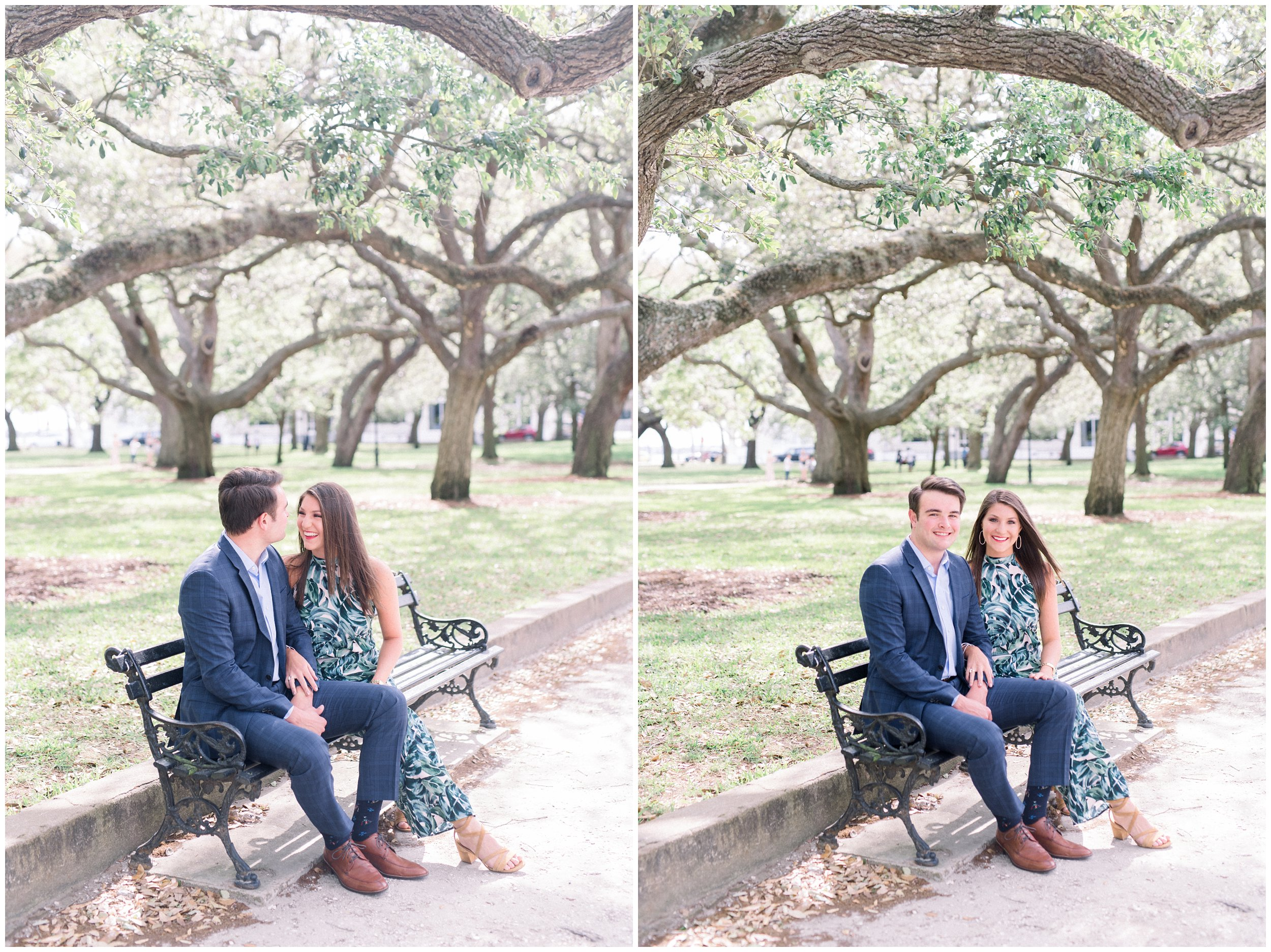 couple sitting in park on bench