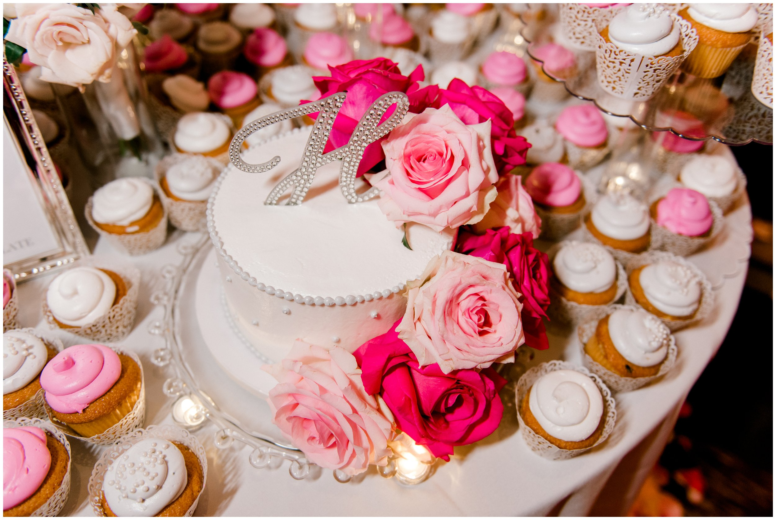 Beautiful wedding cake with pink roses