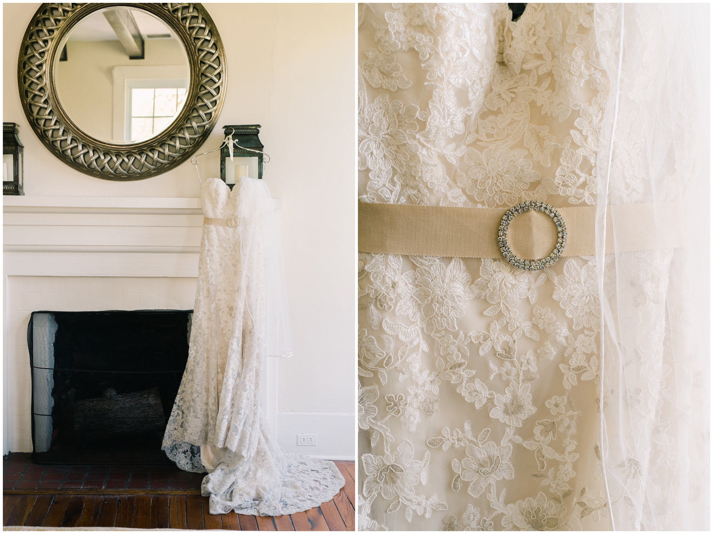wedding dress details hanging at langtree plantation