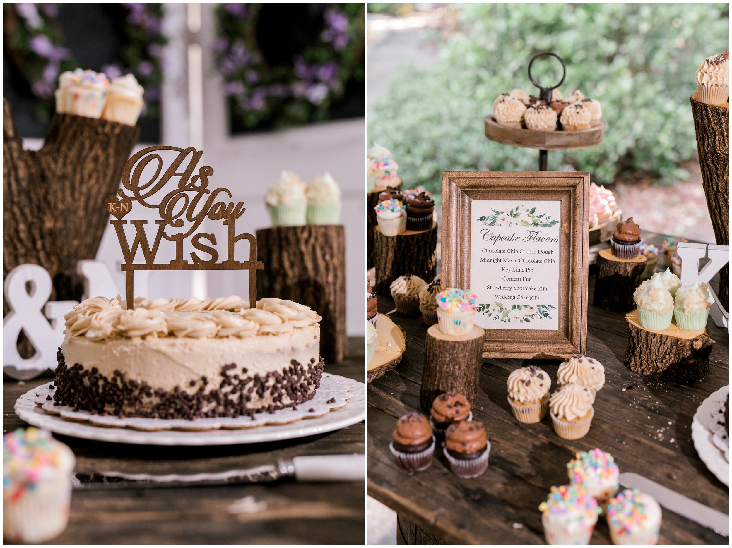 detail of wedding cake and cupcake flavors at charlotte wedding reception