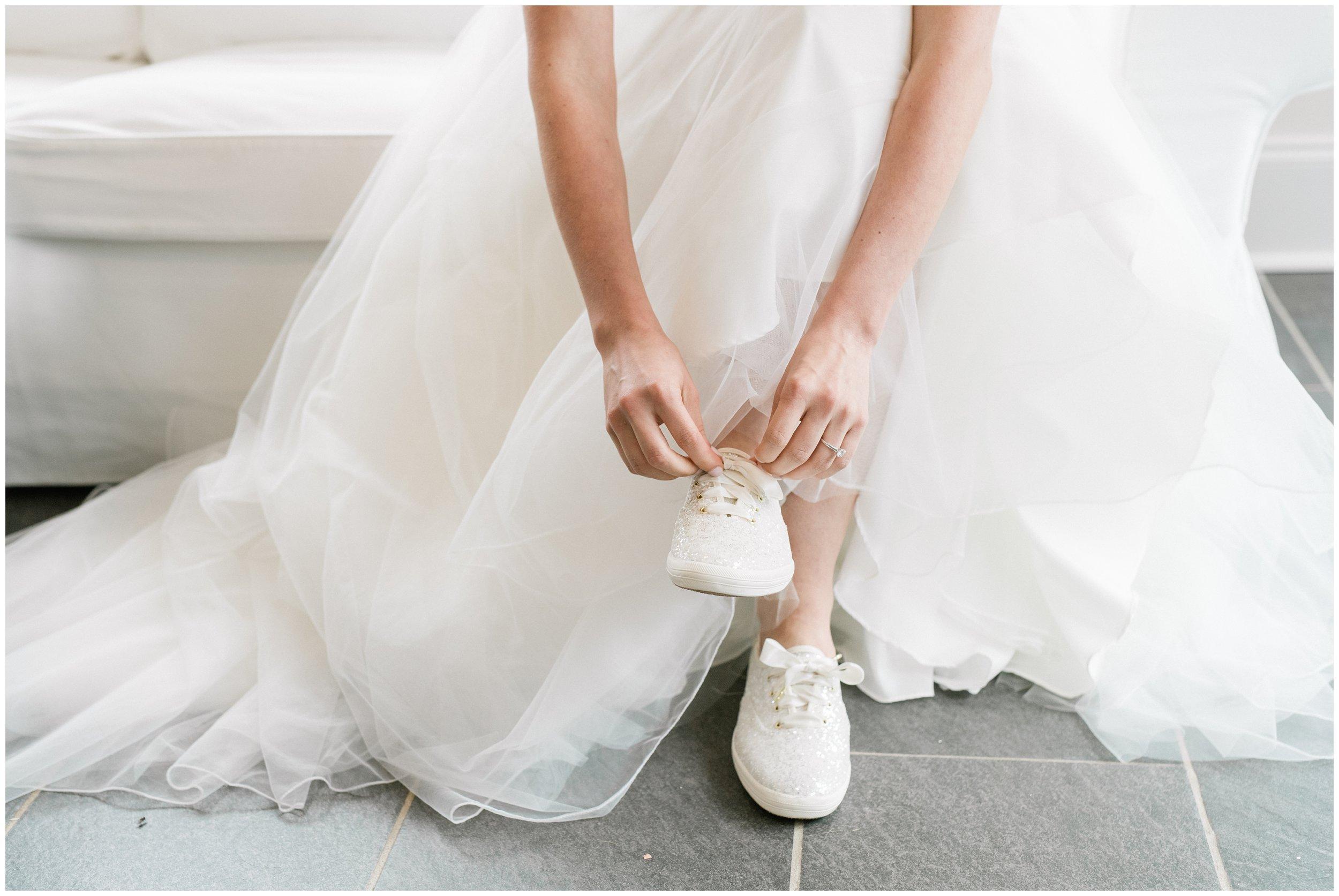 bride's shoe details, kate spade keds