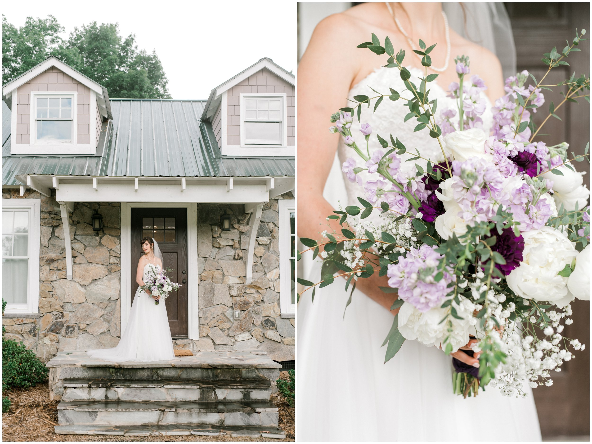 bridal portrait, stunning purple flowers and lush greenery