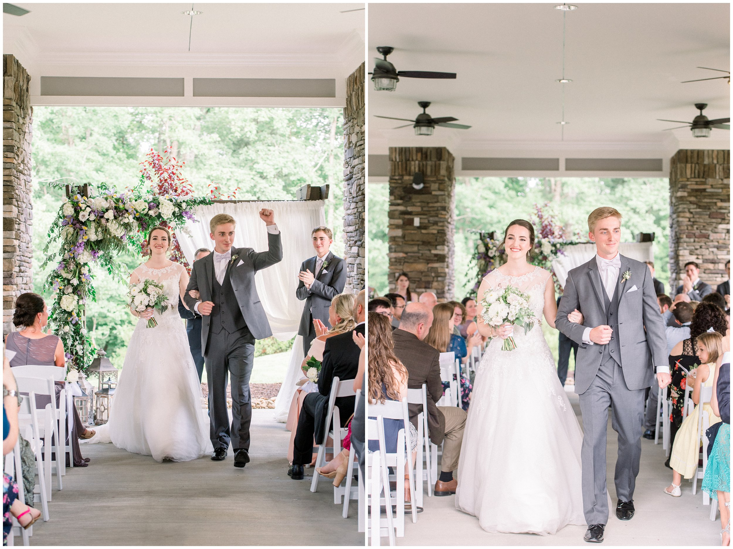 bride and groom walking down the aisle after ceremony