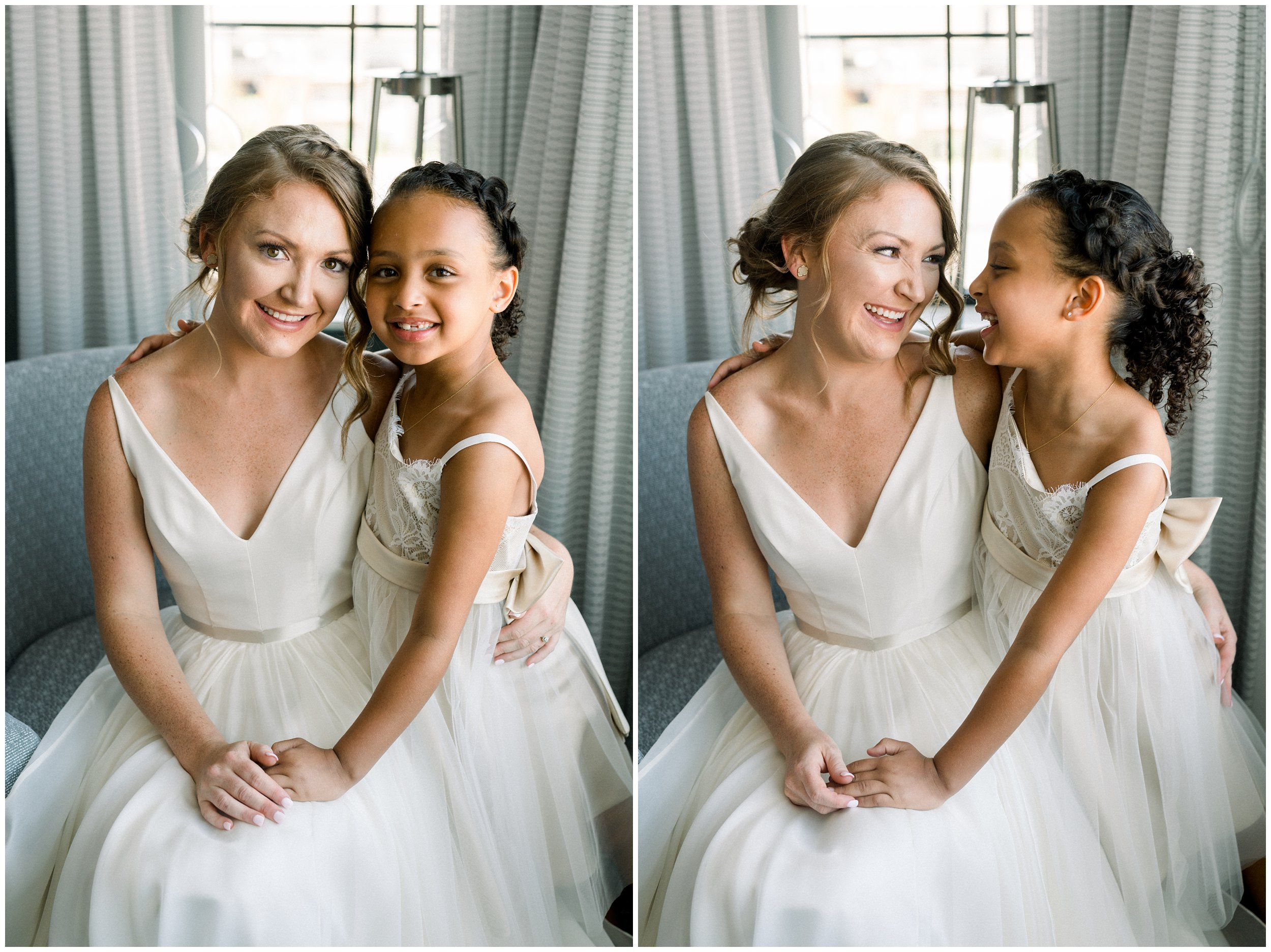 Bride with daughter on wedding day