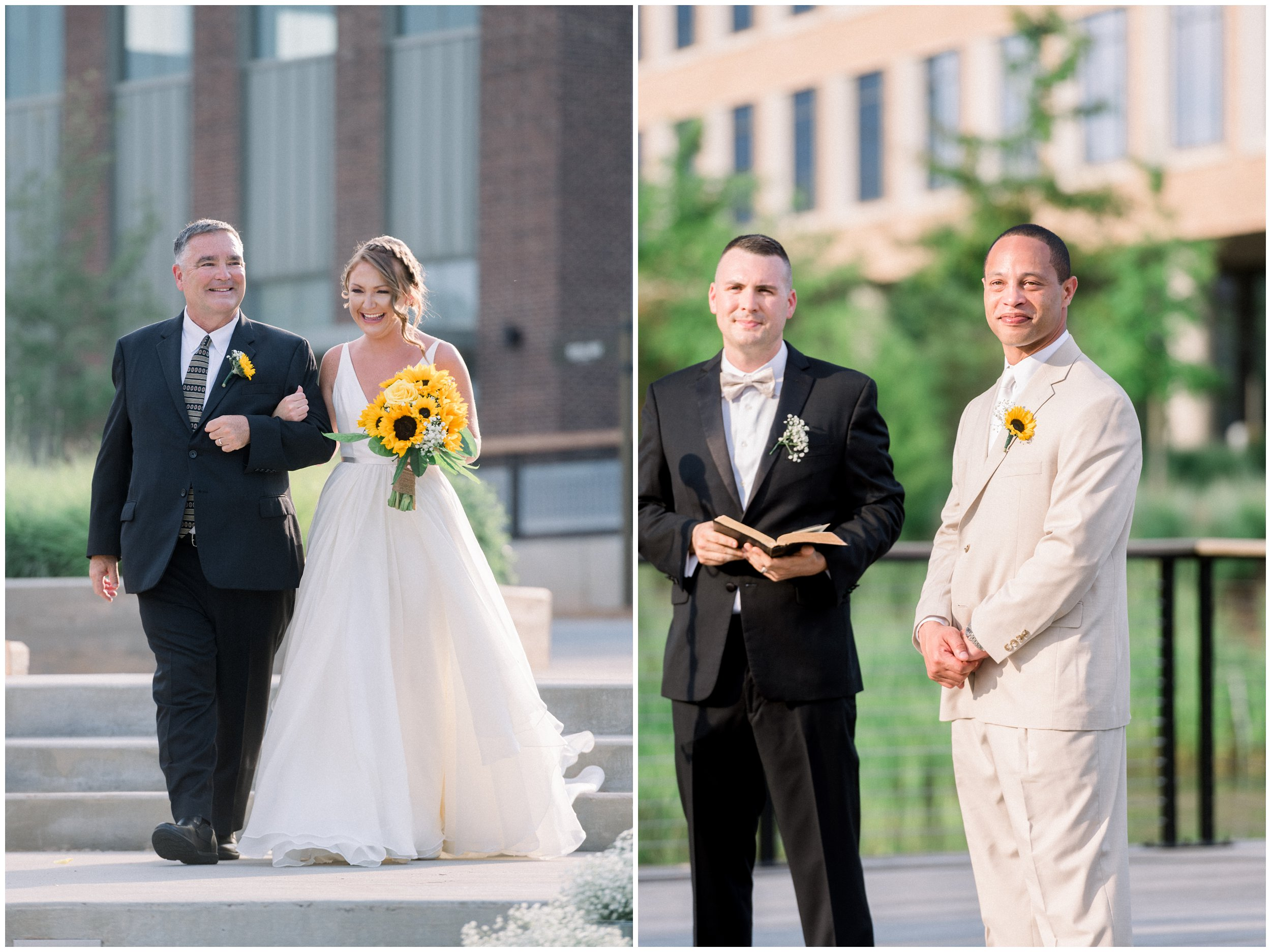Father walking daughter down the aisle while groom waits for her