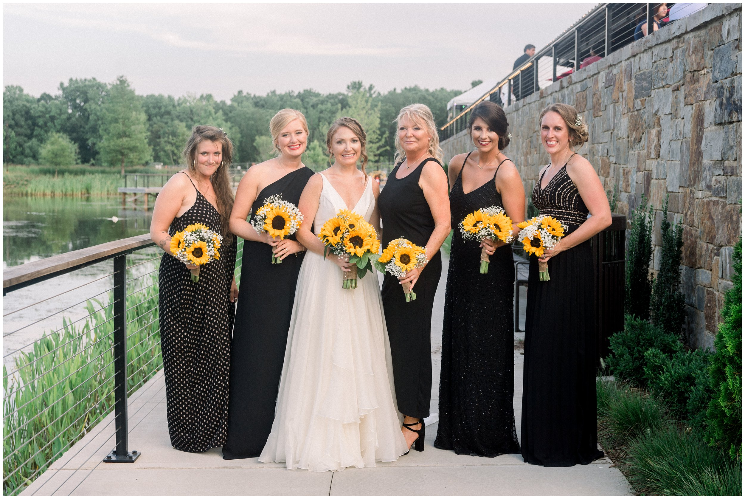 Bridal Party with sunflower bouquets