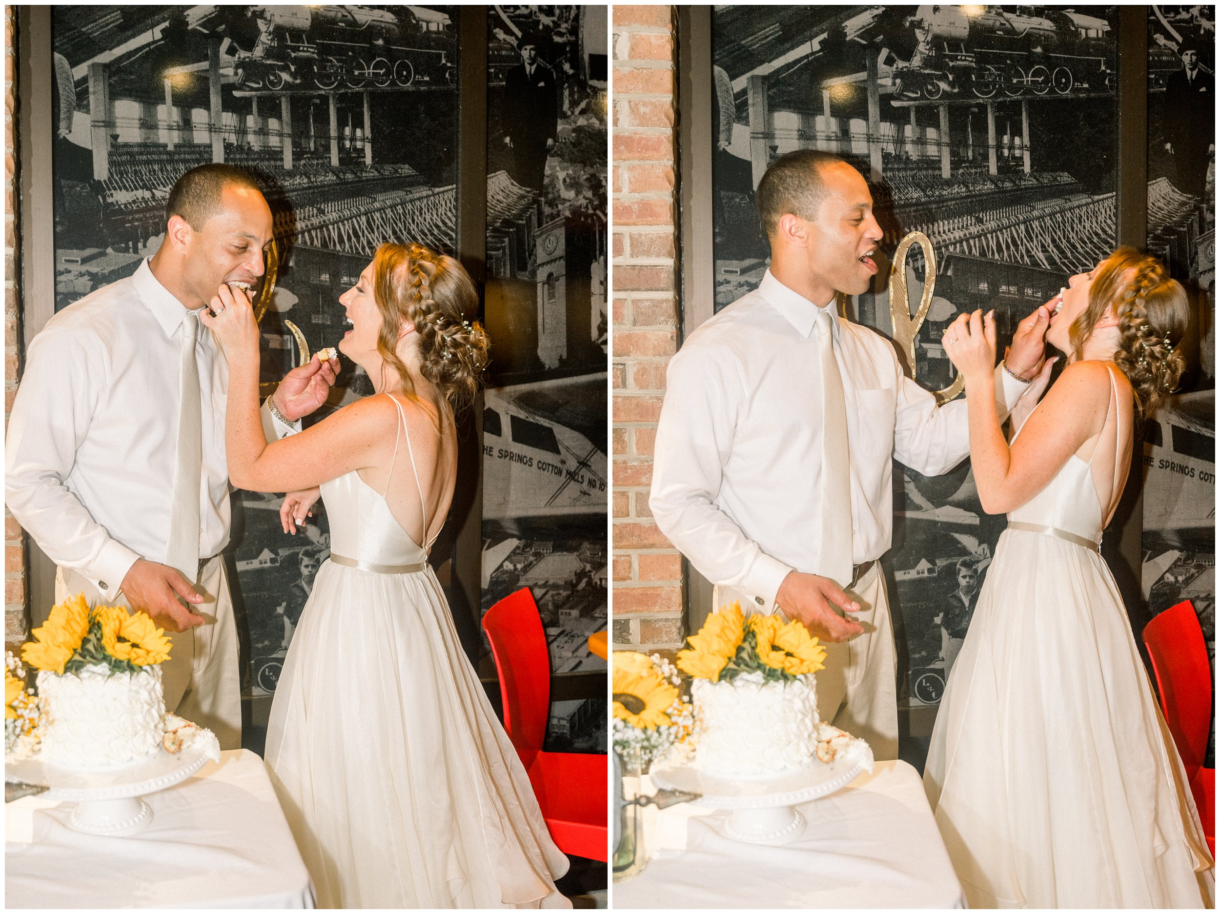 bride and groom feeding cake to each other